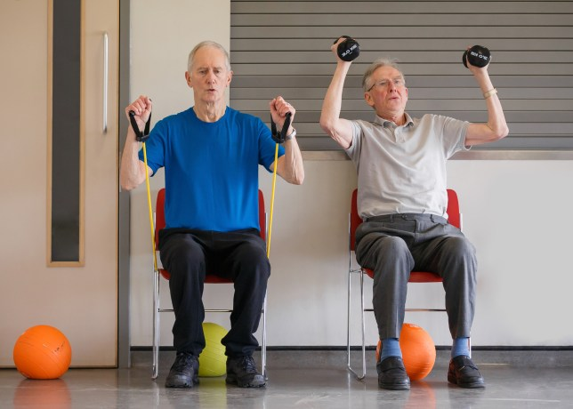 older men chair workout