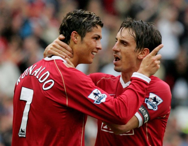 Cristiano Ronaldo and Gary Neville at Manchester United