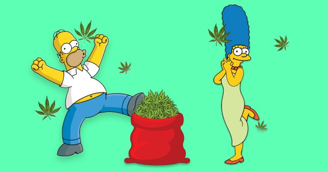 Marge and Homer start dealing weed in The simpsons