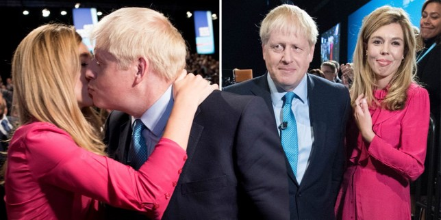 Carrie Symonds and Boris Johnson share a kiss at the Tory Party Conference last year
