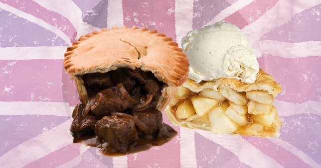 A steak and kidney pie and an apple pie with ice cream on a British flag