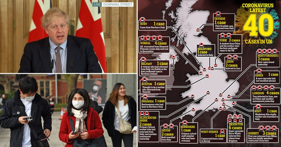 Boris Johnson delivering speech on coronavirus action plan, map of UK showing 40 confirmed cases and people wearing masks in the street