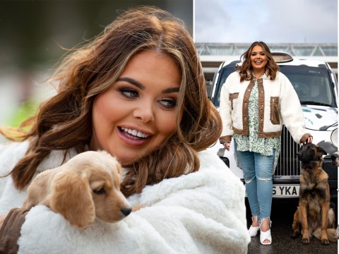 Scarlett Moffatt gets to play with all the dogs as she poses with Crufts taxi and policemen