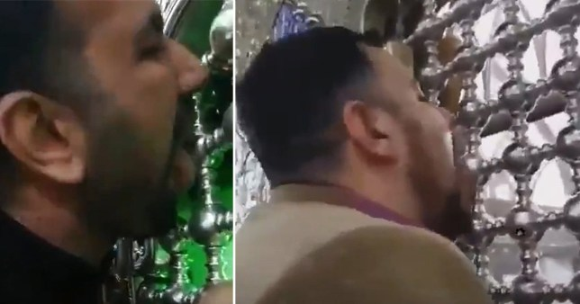 Two men have been arrested for licking shrines in Iran