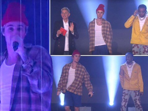 Justin Bieber and Quavo put on an arcade laser show for performance of Intentions on Ellen