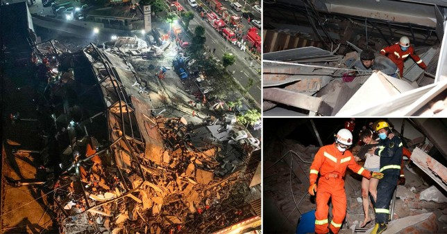 Rescue workers are looking for survivors after a hotel collapsed in China