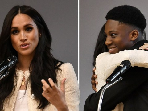 Head boy can't believe his luck as he gets a kiss and hug from Meghan