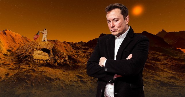 Elon Musk set against the backdrop of Mars