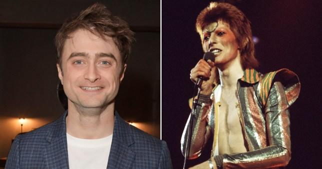 Daniel Radcliffe alongside David Bowie performing