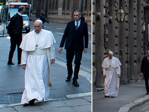 Pope Francis walks through the deserted streets of Rome to pray for end of coronavirus
