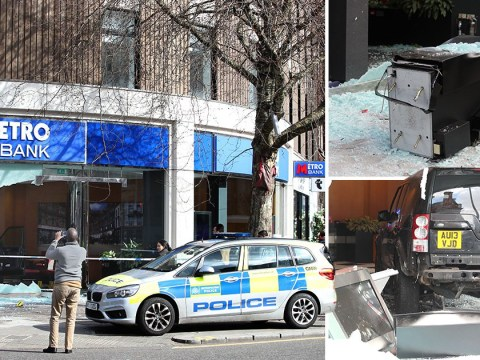 Land Rover driven through bank's window to get to cash machine