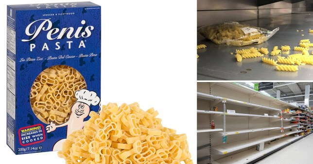 On left, penis shaped pasta in a blue box and on the right, pictures of empty pasta shelves in supermarkets