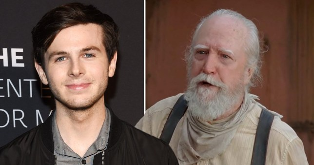 Chandler Riggs and Hershel Greene in The Walking Dead