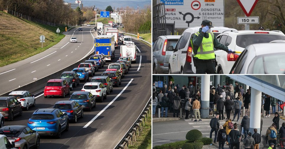 Huge traffic jams at European borders and at airports as people try to get home before borders are shut due to coronavirus outbreak