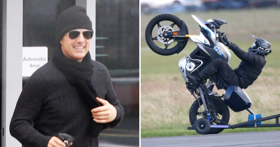 Tom Cruise on Mission: Impossible 7 set