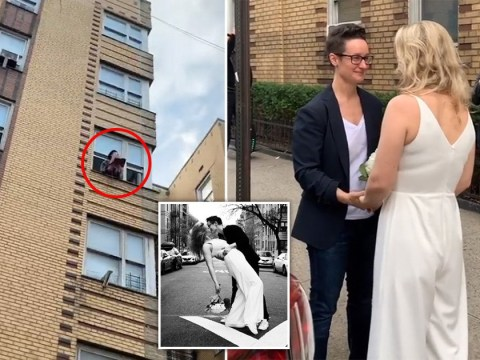 Women marry on street with their celebrant leaning out of his apartment window to officiate