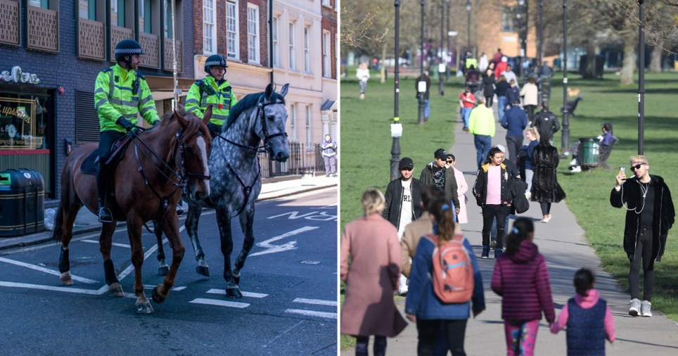 Police on horses and people walking in Battersea Park
