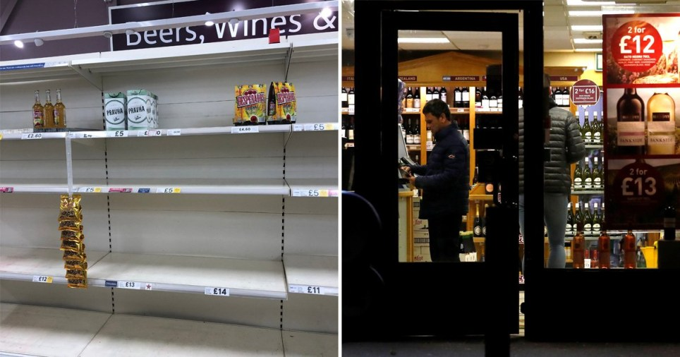 Supermarket alcohol aisle practically emptied during coronavirus crisis (left) and picture of people standing in an off-license