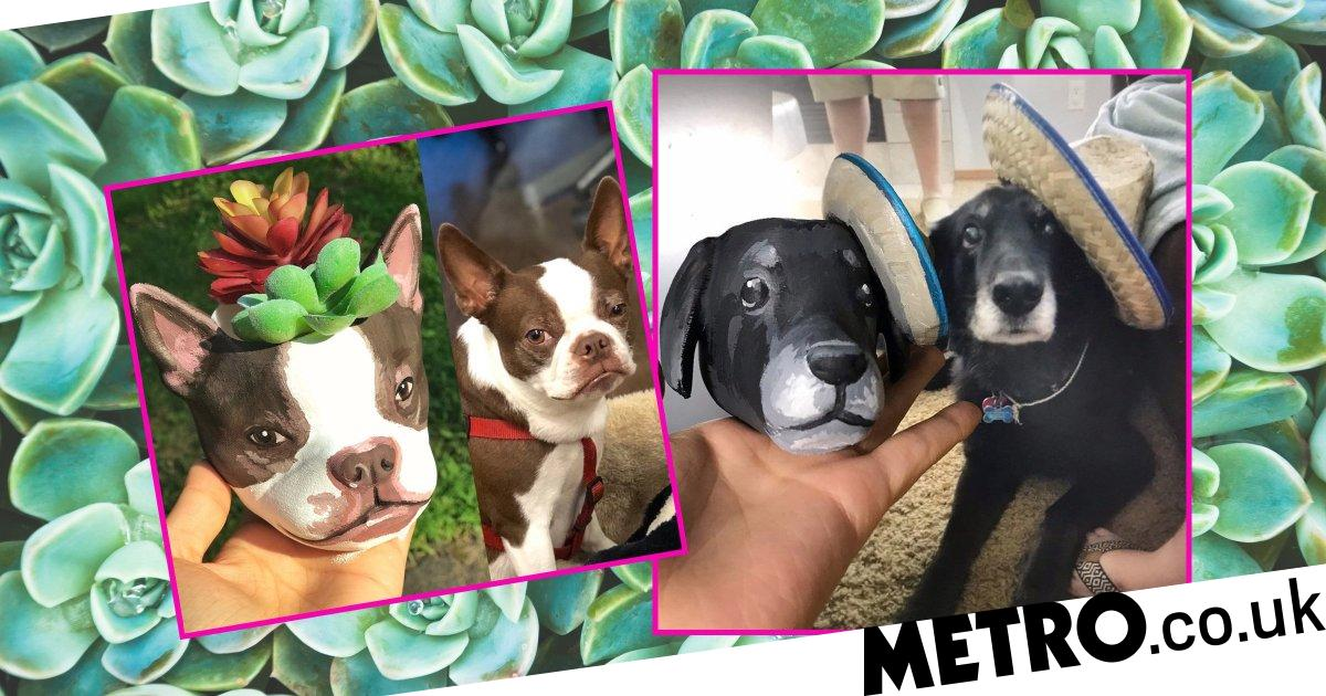 Etsy is selling personalised plant pots which feature your dog's face