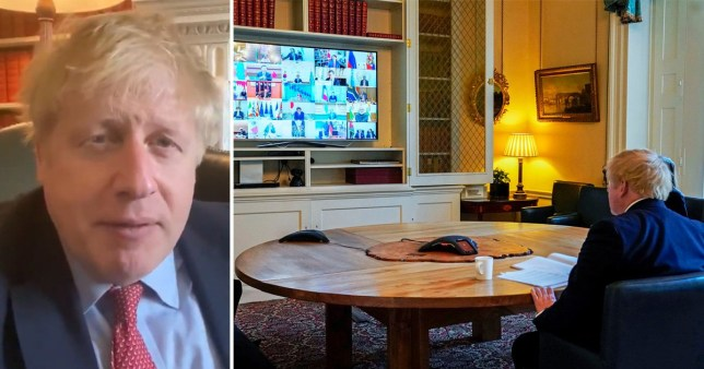 Boris Johnson announcing he has coronavirus (left) and the PM on a video conferencing call with the other G20 leaders earlier this week