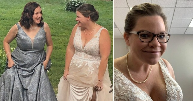 Marybeth wearing the dress on her wedding day, and surprising her staff on the call
