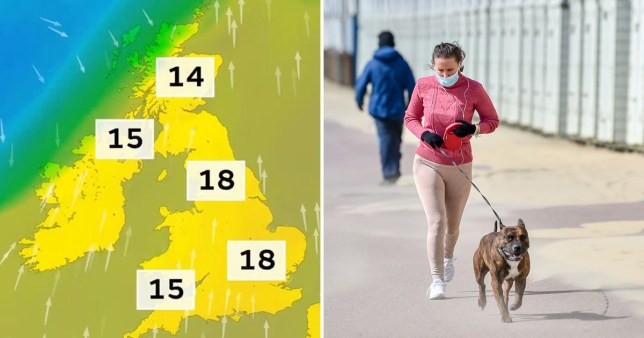 Much of England will see temperatures of 18C