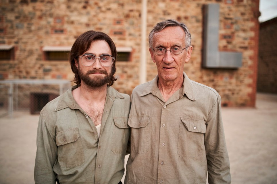 Daniel Radcliffe in up and coming movie Escape From Pretoria with former political prisoner Tim Jenkin (R) MUST CREDIT: SIGNATURE ENTERTAINMENT