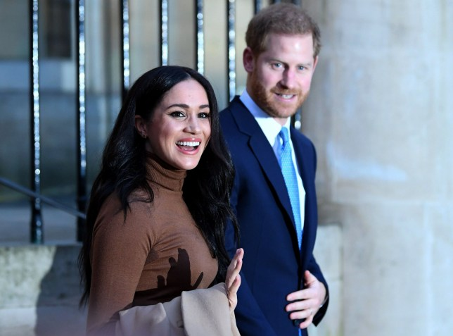 Prince Harry, Duke of Sussex and Meghan, Duchess of Sussex react after their visit to Canada House in thanks for the warm Canadian hospitality and support they received during their recent stay in Canada, on January 7, 2020 in London, England. (Photo by DANIEL LEAL-OLIVAS - WPA Pool/Getty Images)