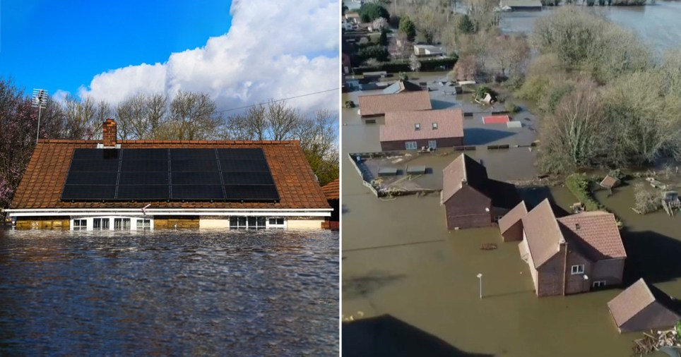 Homes are almost totally under water as another storm batters Britain