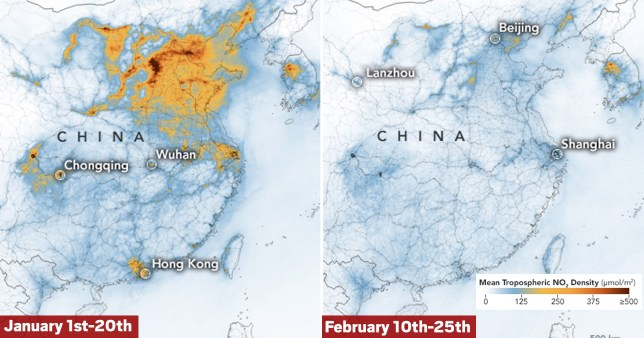 Coronavirus has been really good for cutting emissions in China Picture: EPA