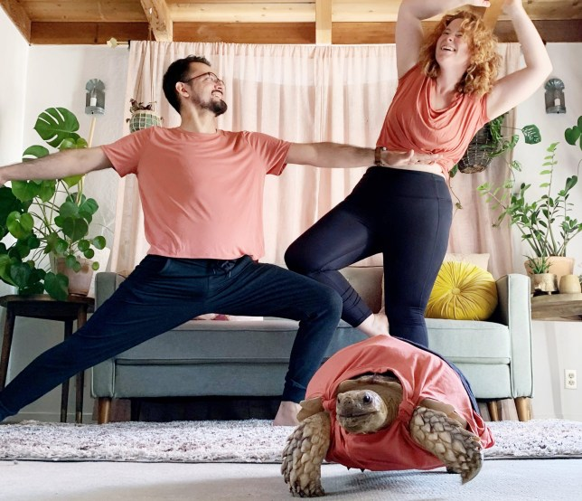 Ethel and her owners Kasey and Daniel doing some yoga