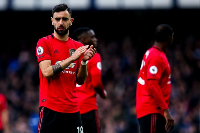 Bruno Fernandes applauds the Manchester United fans after a game against Everton