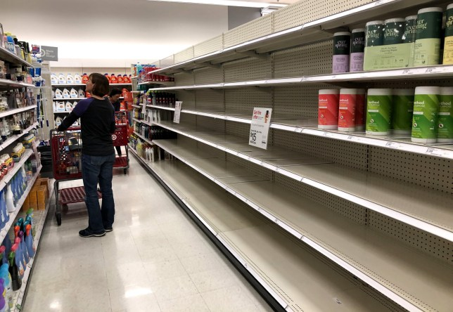 NOVATO, CALIFORNIA - MARCH 02: Shelves where disinfectant wipes are usually displayed is nearly empty at a Target store on March 02, 2020 in Novato, California. As fears of the Coronavirus are spreading, people are emptying the shelves cleaning supplies, protective masks and bottled water at stores in the San Francisco Bay Area. (Photo by Justin Sullivan/Getty Images)