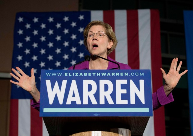 Elizabeth Warren giving speech on Super Tuesday