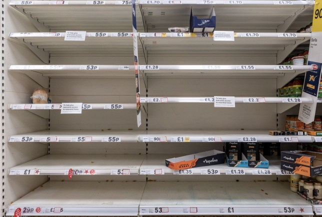 Mandatory Credit: Photo by Valerio Berdini/REX (10576771j) With the coronavirus emergency and the fear of restrictions people are stockpiling and emptying supermarket shelves. Empty shelves at supermarket in Milton, Cambridge, UK - 07 Mar 2020