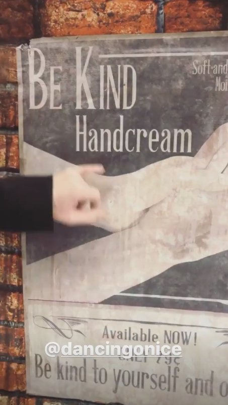 The Be Kind poster used in Joe Swash's dancing on ice routine
