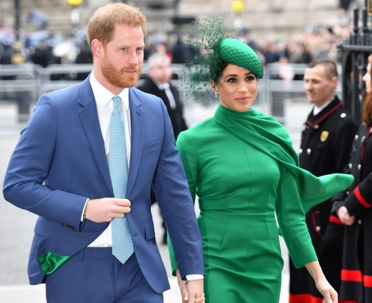 Mandatory Credit: Photo by Tim Rooke/REX/Shutterstock (10577879bt) Prince Harry and Meghan Duchess of Sussex. The lining of Harry's jacket matched Meghan's dress Commonwealth Day Service, Westminster Abbey, London, UK - 09 Mar 2020 The Duke and Duchess of Sussex are carrying out their final official engagement as senior royals