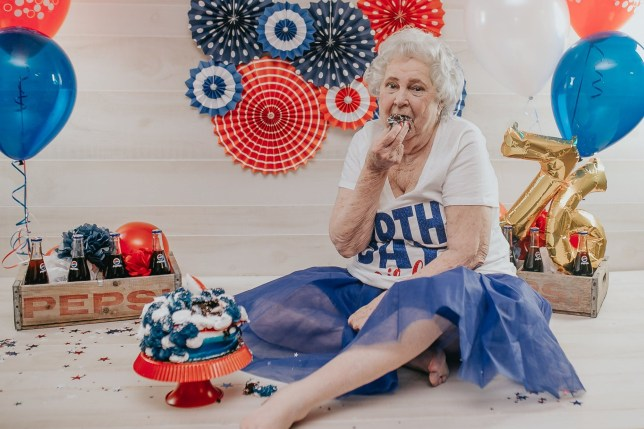 GREAT-GRANDMA FLORENCE KNAPP, 78, OF DES MOINES, IOWA, USA, WAS ALL CHEEKY SMILES FOR A PEPSI-THEMED CAKE SMASH ON HER 76TH BIRTHDAY) An ultra-glam great-grandma celebrates her birthday every year by posing for feisty themed photo shoots - egged on by her granddaughter to adopt her most flirty and provocative poses. Florence Knapp, 78, almost died from kidney failure in January 2018, prompting her granddaughter Kourtney Knapp to vow to 'make memories' by capturing playful photo shoots for each of her three birthdays since. Mum-of-six Kourtney, 32, buys Florence a new elegant outfit and treats the great-grandma-of-18 to having her hair, nails and makeup done to match each year's fun theme. DISCLAIMER: While Kennedy News and Media uses its best endeavours to establish the copyright and authenticity of all pictures supplied, it accepts no liability for any damage, loss or legal action caused by the use of images supplied and the publication of images is solely at your discretion. SEE KENNEDY NEWS COPY - 0161 697 4266