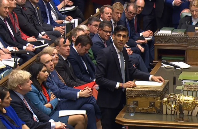 A video grab from footage broadcast by the UK Parliament's Parliamentary Recording Unit (PRU) shows Britain's Chancellor of the Exchequer Rishi Sunak giving his 2020 Spring budget statement in the House of Commons in London on March 11, 2020. - Britain unveils its first post-Brexit budget on Wednesday, with a focus on emergency government funding measures to combat economic fallout from the coronavirus outbreak. (Photo by STRINGER / various sources / AFP) / RESTRICTED TO EDITORIAL USE - NO USE FOR ENTERTAINMENT, SATIRICAL, ADVERTISING PURPOSES - MANDATORY CREDIT