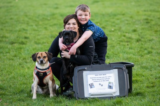Joshua, his aunt Ainsley and their two dogs posing in the park together with the toy box