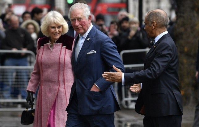 Mandatory Credit: Photo by NEIL HALL/EPA-EFE/REX (10555744b) Britain's Charles, Prince of Wales (C) and Camilla (L), Duke and Duchess of Cornwall arrive at the Cabinet Office in Whitehall in London, Britain, 13 February 2020. The royals toured the Cabinet Office, which is a department of the UK Government responsible for supporting the Prime Minister and Cabinet of the United Kingdom. Duke and Duchess of Cornwall tour Cabinet Office, London, United Kingdom - 13 Feb 2020