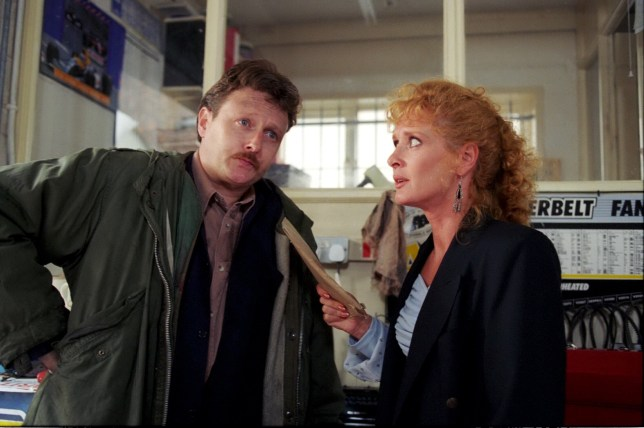 Editorial use only. Exclusive - Premium Rates Apply. Call your Account Manager for pricing. Mandatory Credit: Photo by ITV/REX (669486pf) Coronation Street: TV - 1993 Liz McDonald [Beverley Callard] is horrified to receive Jim McDonald's [Charles Lawson] divorce petition. She is not happy that he has accused her of unreasonable behaviour. ITV ARCHIVE
