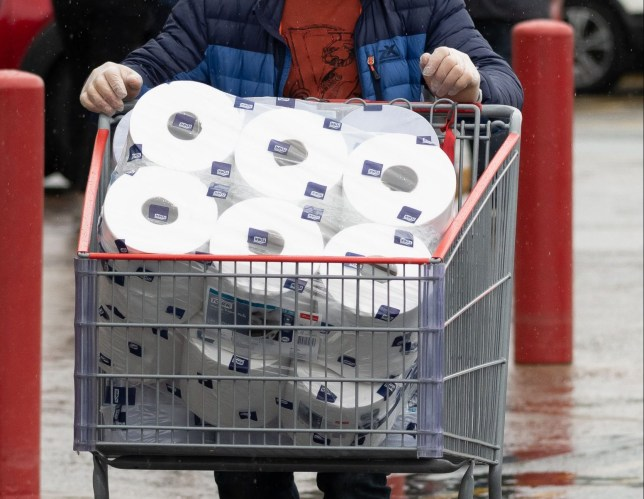 a shopping trolley full of toilet paper