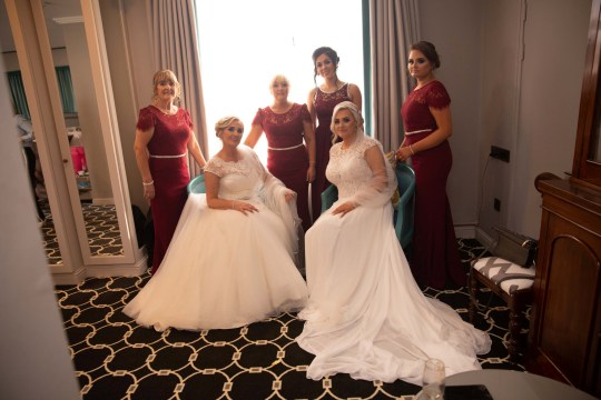 Aisling and Trisha with their bridesmaids on their wedding day