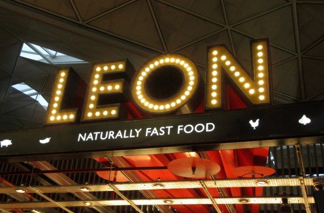 Leon signage and logo seen at their restaurant in London Stansted Airport