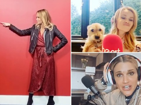 Amanda Holden and Ashley Roberts ditch working from home to practice social distancing at Heart FM instead