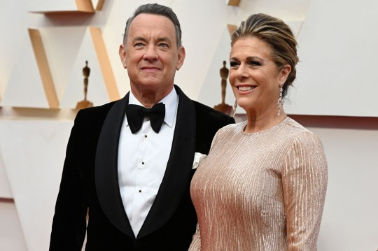 Tom Hanks and wife Rita Wilson on the red carpet at the 2020 Oscars in Hollywood