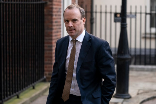 epa08315437 British Foreign Secretary Dominic Raab after attending a meeting at 10 Downing Street, Central London, Britain, 23 March 2020. The British government has urged the public to continue to practise public distancing in order to prevent the spread of coronavirus. EPA/WILL OLIVER