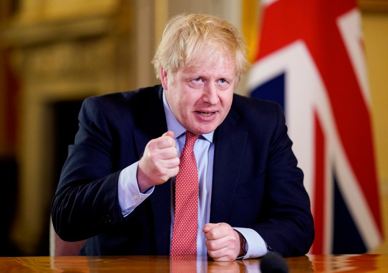 Embargoed til 20.30 23/03/2020. London, United Kingdom. Boris Johnson Covid-19 23/03. The Prime Minister Boris Johnson addressing the Nation in the White Room at No10 Downing Street during the Coronavirus. Picture by Andrew Parsons / No 10 Downing Street