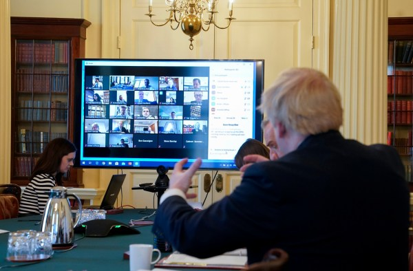 The Prime Minister Boris Johnson chairs his weekly Cabinet meeting remotely from the Cabinet room of No10 Downing Street during the coronavirus. Picture by Andrew Parsons / No 10 Downing Street London, United Kingdom. Boris Johnson Covid-19 24/03.